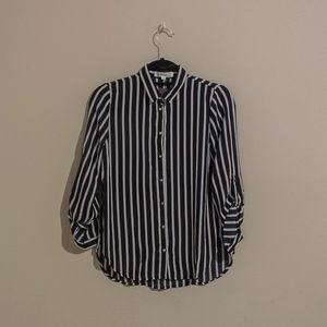 Black & White Vertical Stripe Blouse
